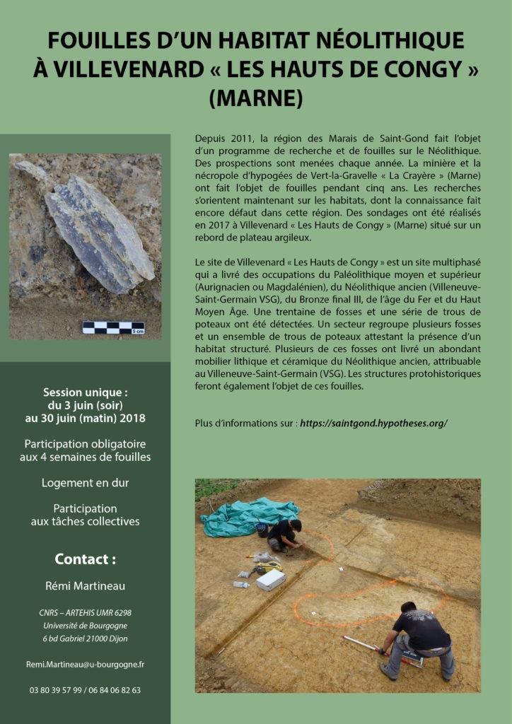 """annonce de la fouille de l'habitat néolithique de Villevenard """"les Hauts de Congy"""" (Marne)"""
