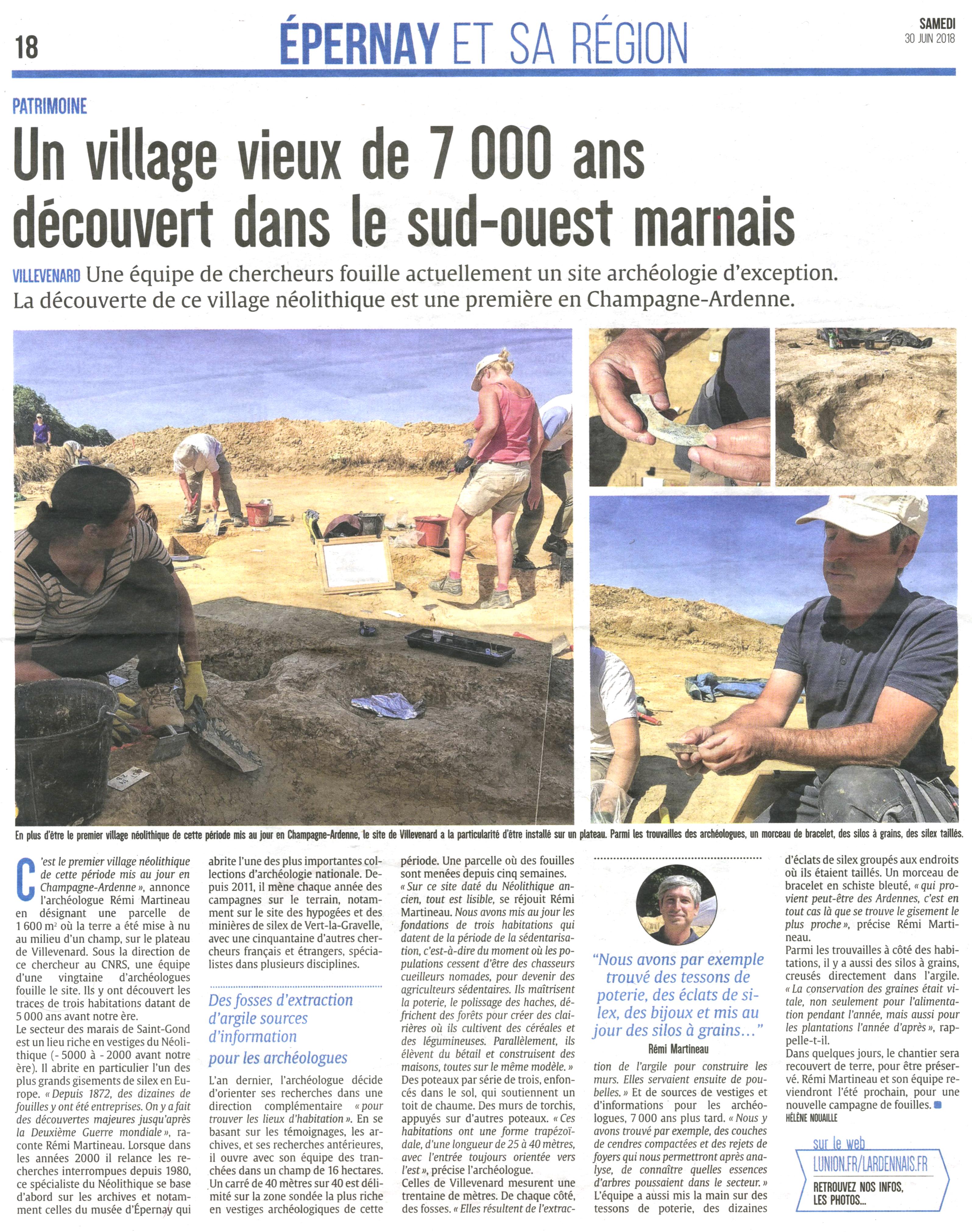"""L'Union du 30 juin 2018 sur un """"village vieux de 7000 ans découvert dans le sud-ouest marnais"""""""